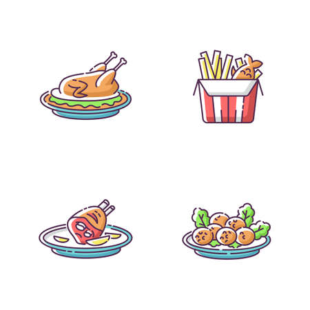 National cookery RGB color icons set. Fast food. Peking duck. British fish and chips. German roasted pork knuckle. Falafel dish. Recipe and ingredient for meal. Isolated vector illustrations
