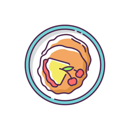 Crepe RGB color icon. Thin french pancakes. Fried dessert with cherry syrup. Yummy traditional dish. National european sweet food. Dining at restaurant. Isolated vector illustration