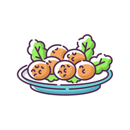 Falafel RGB color icon. Deep fried ball dish. Traditional eastern meal. Japanese tempura. National dish recipe. Fast food. Meat on lettuce. Vegetarian dish. Isolated vector illustration Ilustração