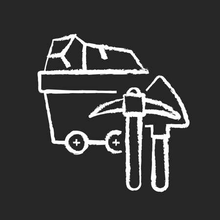 Coal industry chalk white icon on black background. Natural resources exploitation, fossil fuel mining. Colliery equipment, trolley with coal and pickaxe isolated vector chalkboard illustration