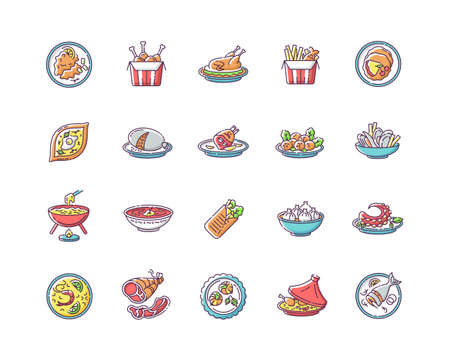 Best national dish RGB color icons set. Traditional meal for tourist attraction. Lunch recipe. Ingredient for restaurant dinner. French fries. Chinese sea food. Isolated vector illustrations