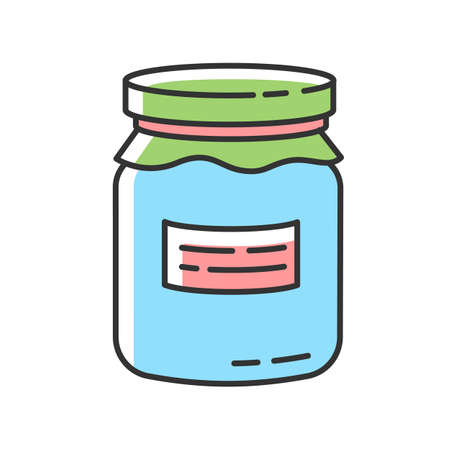 Glass jar RGB color icon. Zero waste, canning. Food conservation, homemade cooking. Reusable glass can organic with jam or honey isolated vector illustration