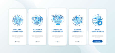 Company productivity onboarding mobile app page screen with concepts. Nurture future leader walkthrough 5 steps graphic instructions. UI vector template with RGB color illustrations 向量圖像