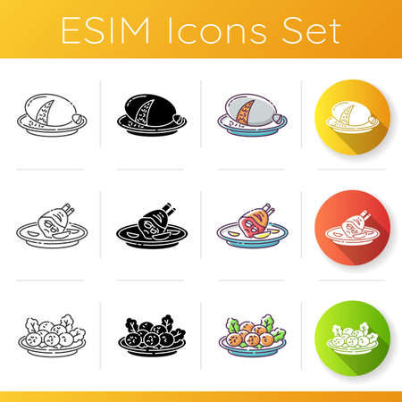National dish icons set. Scottish haggis. German roasted pork knuckle. Falafel on plate. Restaurent meal. Cooked food in crockery. Linear, black and RGB color styles. Isolated vector illustrations Illustration