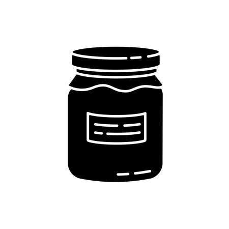 Glass jar black glyph icon. Zero waste, canning silhouette symbol on white space. Food conservation, homemade cooking. Reusable glass can organic with jam or honey vector isolated illustration Illusztráció