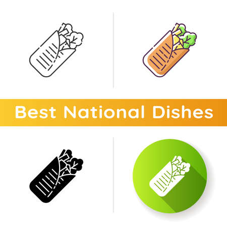 Shawarma icon. Arabian fast food. Meat wrapped with lettuce. Mexican taco. Traditional cuisine. National dish. Meal for lunch. Linear black and RGB color styles. Isolated vector illustrations