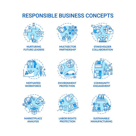 Responsible business turquoise concept icons set. Nurture future leader. Sustainable development idea thin line RGB color illustrations. Vector isolated outline drawings. Editable stroke Ilustração