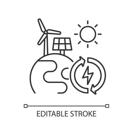 Renewable energy linear icon. Alternative power sources thin line customizable illustration. Contour symbol. Planet with solar panel and wind turbine vector isolated outline drawing. Editable stroke