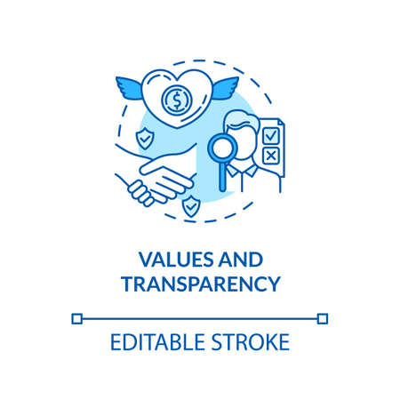 Values and transparency turquoise concept icon. Company reliability. Company culture. Core corporate ethics idea thin line illustration. Vector isolated outline RGB color drawing. Editable stroke Stock Illustratie