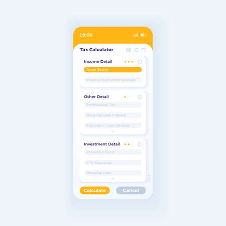 Tax calculator app smartphone interface vector template. Mobile app page day mode design layout. Income and investment details on screen. Flat UI for application. Tax estimator phone display Vektoros illusztráció