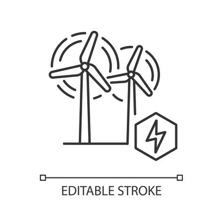 Wind power plant linear icon. Alternative energy industry thin line customizable illustration. Contour symbol. Electricity generation. Wind turbines vector isolated outline drawing. Editable stroke Vettoriali
