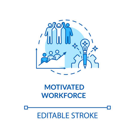 Motivated workforce turquoise concept icon. Employee encouragement. Staff performance. Personnel motivation idea thin line illustration. Vector isolated outline RGB color drawing. Editable stroke 矢量图像
