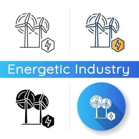 Wind power plant icon. Linear black and RGB color styles. Alternative energy industry. Using renewable natural resources, electricity generation. Wind turbines isolated vector illustrations