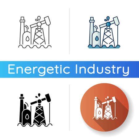 Oil industry icon. Linear black and RGB color styles. Petroleum refinery station, fossil fuel extraction plant. Natural resources exploitation. Oil pump, derrick isolated vector illustrations