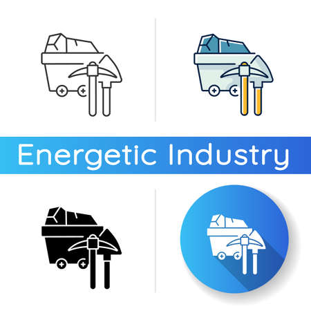 Coal industry icon. Linear black and RGB color styles. Natural resources exploitation, fossil fuel mining. Colliery equipment, trolley with coal and pickaxe isolated vector illustrations