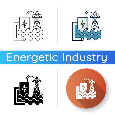 Wave energy icon. Linear black and RGB color styles. Ecologically safe power plant. Using sea waves power for electricity generation. Hydroelectric station isolated vector illustrations