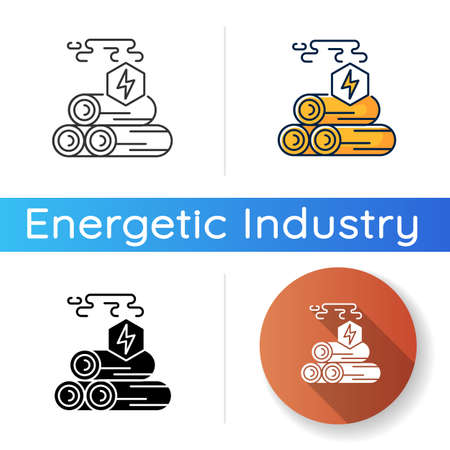 Wood energy icon. Linear black and RGB color styles. Power manufacturing business, electricity generation. Natural resources exploitation, deforestation. Isolated vector illustrations