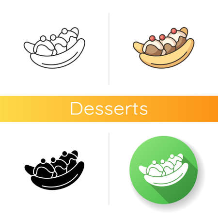 Banana split icon. Ice cream based dessert with banana and cherries. National American cuisine. World desserts. Linear black and RGB color styles. Isolated vector illustrations