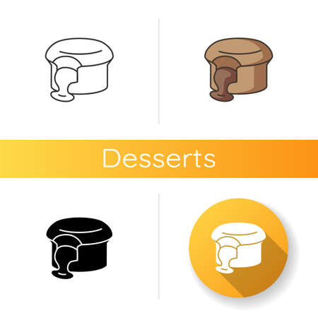 Fondant au Chocolat icon. Molten chocolate cake. French souffle. Lava cake. Traditional French desserts. European sweets. Linear black and RGB color styles. Isolated vector illustrations