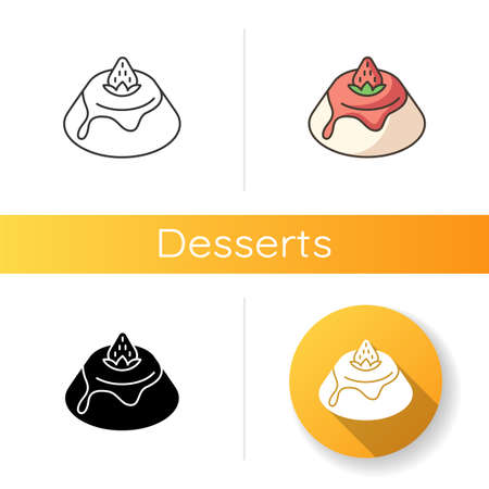Panna Cotta icon. Italian pudding with strawberry sauce. Traditional Italian desserts. European cuisine and sweets. Linear black and RGB color styles. Isolated vector illustrations Ilustracja