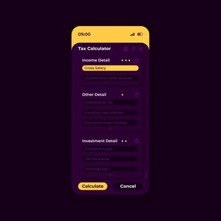 Tax calculator app smartphone interface vector template. Mobile app page night mode design layout. Gross salary and housing loan details on screen. Flat UI for application. Tax estimator phone display Vektoros illusztráció