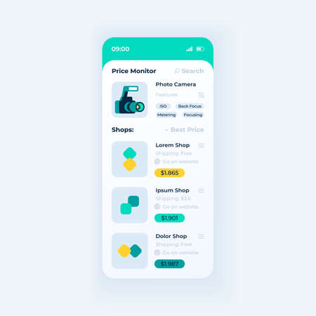 Price monitor app smartphone interface vector template. Mobile app page day mode design layout. Products on ecommerce websites on screen. Flat UI for application. Cost tracker phone display Ilustrace