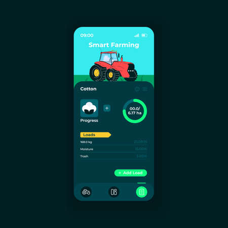 Smart farming app smartphone interface vector template. Mobile app page night mode design layout. Cotton loads details on screen. Flat UI for application. Crops productivity phone display Ilustrace