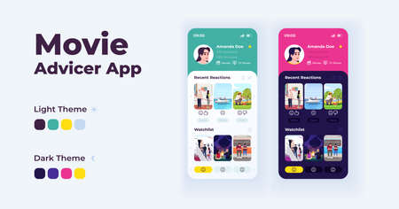 Movie advisor app cartoon smartphone interface vector templates set. Mobile app screen page day and night modes design. Film suggestions UI for application. Phone display with flat illustrations Ilustrace