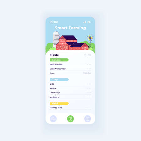 Smart farming app smartphone interface vector template. Mobile app page day mode design layout. Crop planning function on screen. Flat UI for application. Agricultural field productivity phone display Ilustrace