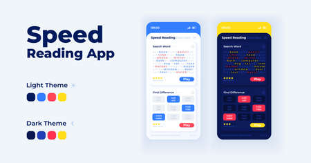 Speed reading app cartoon smartphone interface vector templates set. Mobile app screen page day and night modes design. Comprehension exercise UI for application. Phone display with flat illustrations Illustration