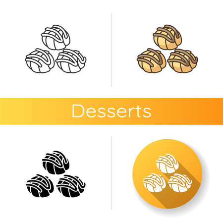 Profiteroles icon. Cream puffs with chocolate sauce. National French sweets. Traditional cuisine of France. European confection. Linear black and RGB color styles. Isolated vector illustrations Ilustracja