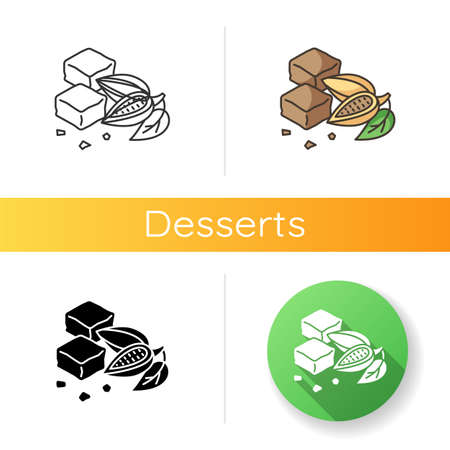 Brownies icon. Chocolate baked confection. Fudgy brownie. Brown biscuits. Cocoa based cookies. National American cuisine. Linear black and RGB color styles. Isolated vector illustrations