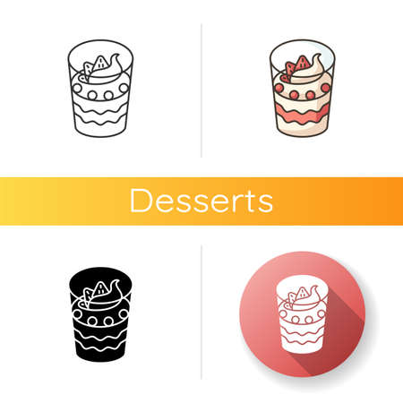 Parfait icon. Yogurt based frozen dessert. Sweet breakfast. National French sweets. Traditional cuisine of France. Linear black and RGB color styles. Isolated vector illustrations