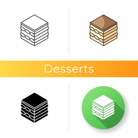 Tiramisu icon. Coffee flavoured dessert. Cake with cream cheese and cocoa. Traditional Italian cuisine. European sweets. Linear black and RGB color styles. Isolated vector illustrations Ilustracja