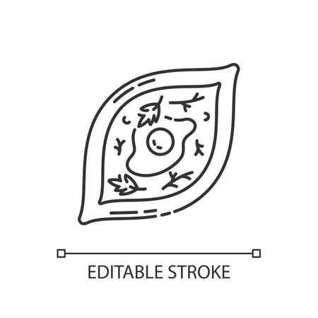 Khachapuri pixel perfect linear icon. Oriental meal. Adjara dish. Hot food with seasoning. Thin line customizable illustration. Contour symbol. Vector isolated outline drawing. Editable stroke Stock Illustratie