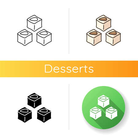 Lokum icon. Turkish delight. Arabic traditional confection. National cuisine of Turkey. Delicious oriental sweets. Linear black and RGB color styles. Isolated vector illustrations