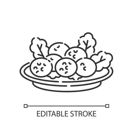 Falafel pixel perfect linear icon. Deep fried ball dish. Traditional eastern meal. Thin line customizable illustration. Contour symbol. Vector isolated outline drawing. Editable stroke