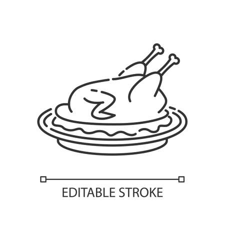 Peking duck pixel perfect linear icon. Whole roasted chicken with gravy for thanksgiving. Thin line customizable illustration. Contour symbol. Vector isolated outline drawing. Editable stroke Stock Illustratie