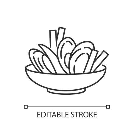 Moules frites pixel perfect linear icon. Traditional mussels and chips. French national meal. Thin line customizable illustration. Contour symbol. Vector isolated outline drawing. Editable stroke