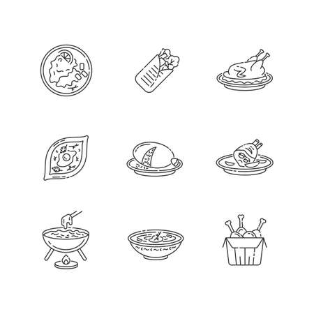 Cafe meals pixel perfect linear icons set. Wrapped shawarma with meat and lettuce. Khachapuri recipe. Customizable thin line contour symbols. Isolated vector outline illustrations. Editable stroke