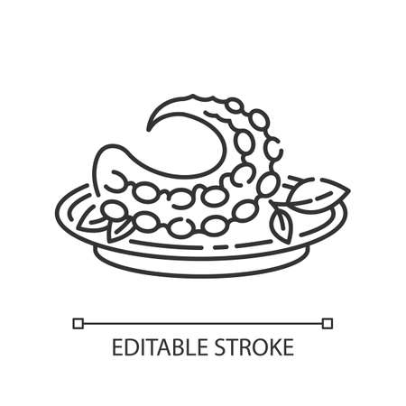 Polvo pixel perfect linear icon. Portuguese octopus meal. Traditional dish with fresh seafood. Thin line customizable illustration. Contour symbol. Vector isolated outline drawing. Editable stroke