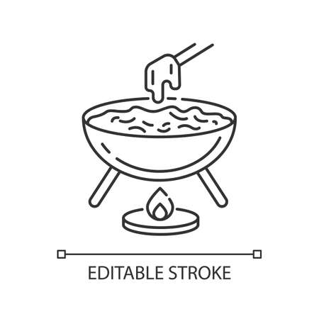 Cheese fondue pixel perfect linear icon. French fast food. Traditional european meal. Thin line customizable illustration. Contour symbol. Vector isolated outline drawing. Editable stroke