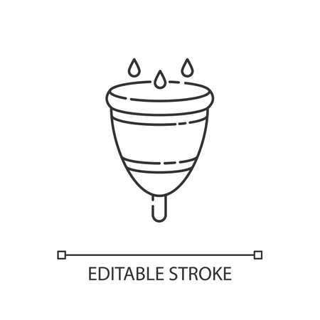 Menstrual cup linear icon. Zero waste lifestyle, menstruation thin line customizable illustration. Contour symbol. Feminine accesory, female hygiene. Vector isolated outline drawing. Editable stroke Vettoriali