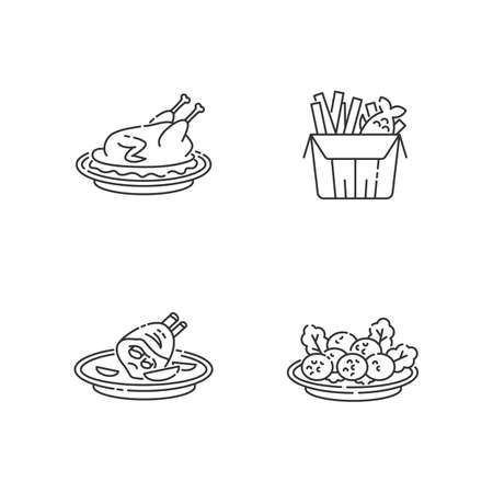 National cookery pixel perfect linear icons set. Fast food. Peking duck. British fish and chips. Customizable thin line contour symbols. Isolated vector outline illustrations. Editable stroke