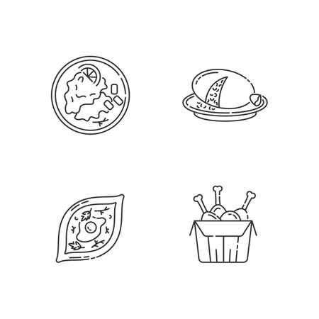 Fast food pixel perfect linear icons set. Scottish haggis. Wiener schnitzel. Georgian khachapuri. Customizable thin line contour symbols. Isolated vector outline illustrations. Editable stroke