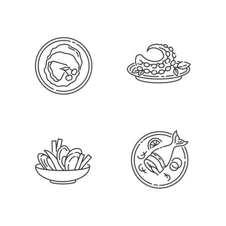 National dish pixel perfect linear icons set. French crepes. Thin pancakes. Soused herring. Customizable thin line contour symbols. Isolated vector outline illustrations. Editable stroke Stock Illustratie