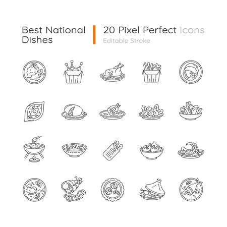 Best national dish pixel perfect linear icons set. Traditional meal for tourist attraction. Lunch recipe. Customizable thin line contour symbols. Isolated vector outline illustrations. Editable stroke