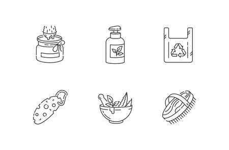 Eco friendly products linear icons set. Zero waste customizable thin line contour symbols. Organic cosmetics, reusable bag and eco essentials isolated vector outline illustrations. Editable stroke Ilustração