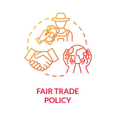 Fair trade policy red gradient concept icon. Professional partnership and corporate networking. Responsible business idea thin line illustration. Vector isolated outline RGB color drawing Ilustração
