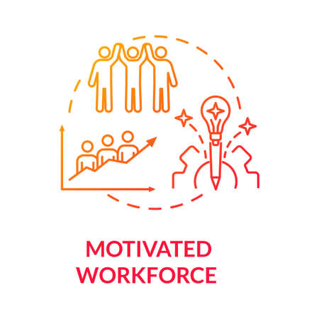 Motivated workforce red gradient concept icon. Employee encouragement. Staff performance. Personnel motivation idea thin line illustration. Vector isolated outline RGB color drawing